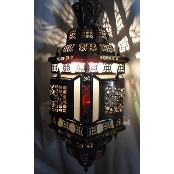 Alibabba Stained Glass 1-light Bronze Chandelier  , Handmade in Morocco