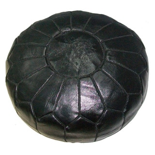 Handmade Leather Contemporary Ottoman Pouf (Morocco)