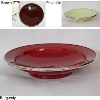 Handmade Ceramic Contemporary Silver Trim Plate (Morocco)