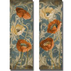 Lanie Loreth 'Poppies de Bleu I and II' 2-piece Canvas Art Set