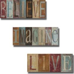 Patricia Pinto 'Believe, Imagine, Live' 3-piece Canvas Art Set