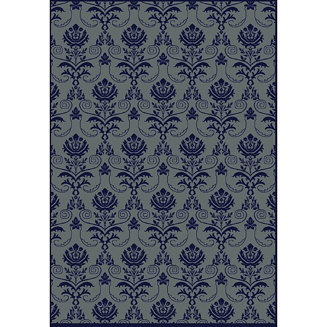 Admire Home Living Impressions Navy Abstract Rug (7'9 x 11')