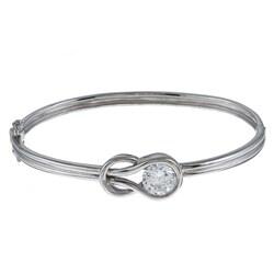 La Preciosa Sterling Silver CZ 'Love Knot' Bangle