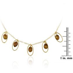 Glitzy Rocks 18k Gold over Sterling Silver Amber Pearl Necklace - Thumbnail 2