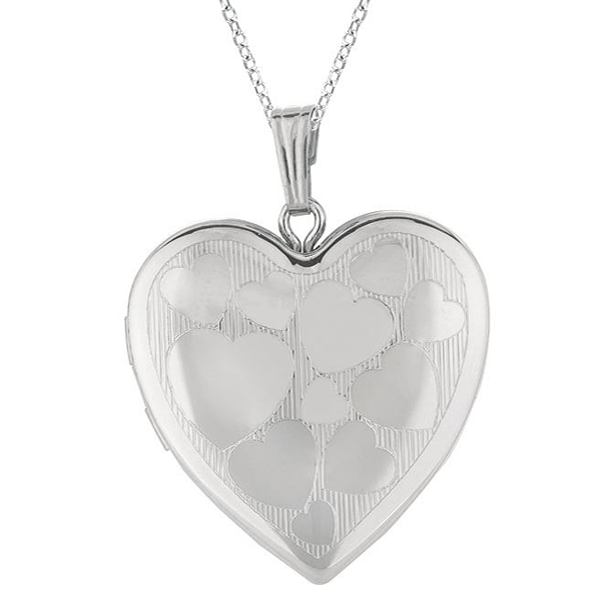 Sterling Silver Embossed Heart Locket Necklace
