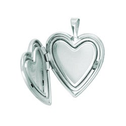 Sterling Silver Embossed Heart Locket Necklace - Thumbnail 1