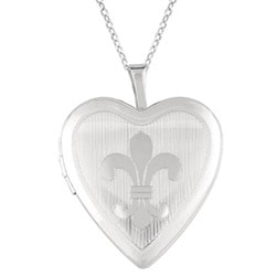 Sterling Silver 'Fleur de Lis' Heart Locket Necklace
