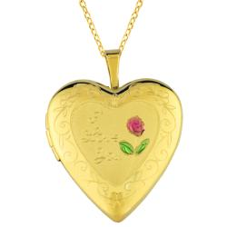 14k Gold and Sterling Silver 20mm 'I Love You' Heart Locket Necklace
