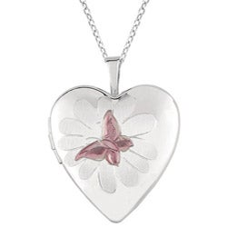 Sterling Silver Butterfly and Flower Heart Locket Necklace