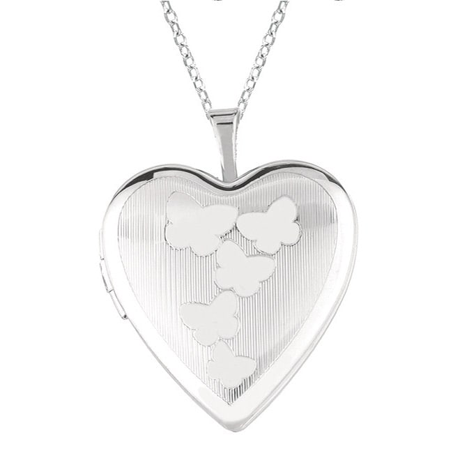 AME Sterling Silver Butterfly Heart Locket Necklace, Wome...