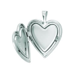 Sterling Silver Butterfly Heart Locket Necklace - Thumbnail 1