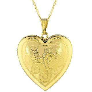 14k Gold and Sterling Silver Heart Locket Necklace|https://ak1.ostkcdn.com/images/products/5683715/P13427544.jpg?impolicy=medium