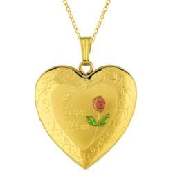14k Gold and Sterling Silver 25 mm 'I Love You' Heart Locket Necklace