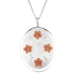 Sterling Silver Engraved Flower Locket Necklace