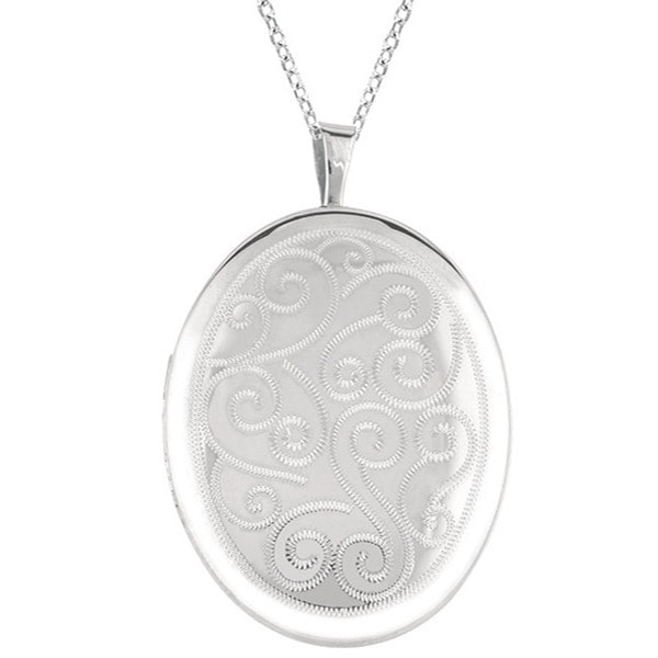 Shop Sterling Silver Engraved Oval Locket Necklace Free