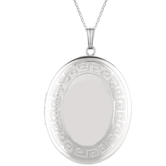 Sterling Silver 'Greek Key' Oval Locket Necklace