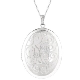 Sterling Silver Engraved Swirls Oval Locket Necklace