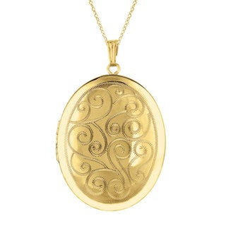 Sterling Silver/ 14k Gold Engraved Oval Locket Necklace
