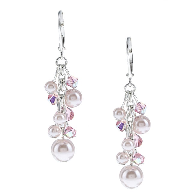Crystale Pink Faux-pearl and Created-stone Cluster Dangle Earrings