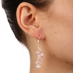 Crystale Pink Faux-pearl and Created-stone Cluster Dangle Earrings - Thumbnail 2