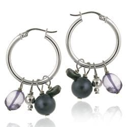 Glitzy Rocks Silver Abalone and Amethyst Dangle Earrings