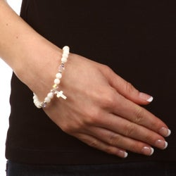 Crystale Silverplated Mother of Pearl and Crystal Cross Bracelet - Thumbnail 2