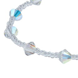 Crystale Sterling Silver Clear Seed Bead Crystal Heart Stretch Bracelet