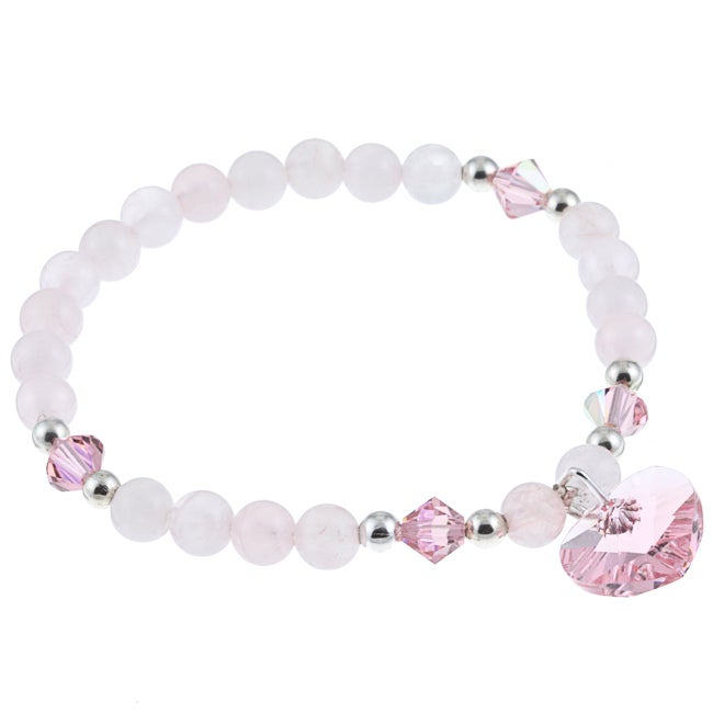 Crystale Rose Quartz and Crystal Heart Stretch Bracelet - Thumbnail 0