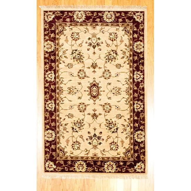 Afghan Hand-knotted Beige/ Burgundy Oushak Wool Rug (3'9 x 5'9)