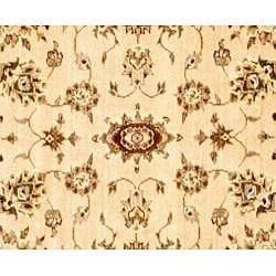 Afghan Hand-knotted Beige/ Burgundy Oushak Wool Rug (3'9 x 5'9) - Thumbnail 1