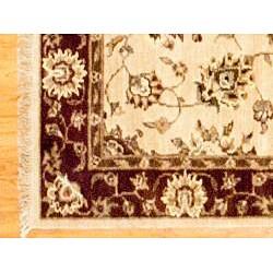 Afghan Hand-knotted Beige/ Burgundy Oushak Wool Rug (3'9 x 5'9) - Thumbnail 2