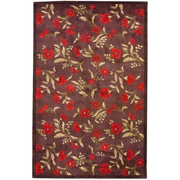 Herat Oriental Asian Hand-tufted Contemporary Red/ Dark Brown Wool Rug (4'9 x 7'7)
