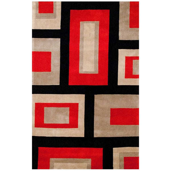 Herat Oriental Hand Tufted Wool Red Black Area Rug: Shop Herat Oriental Asian Hand-tufted Contemporary Red