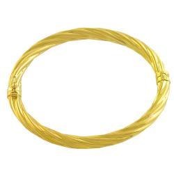 Goldkist 18k Yellow Gold over Silver Bangle - Thumbnail 1