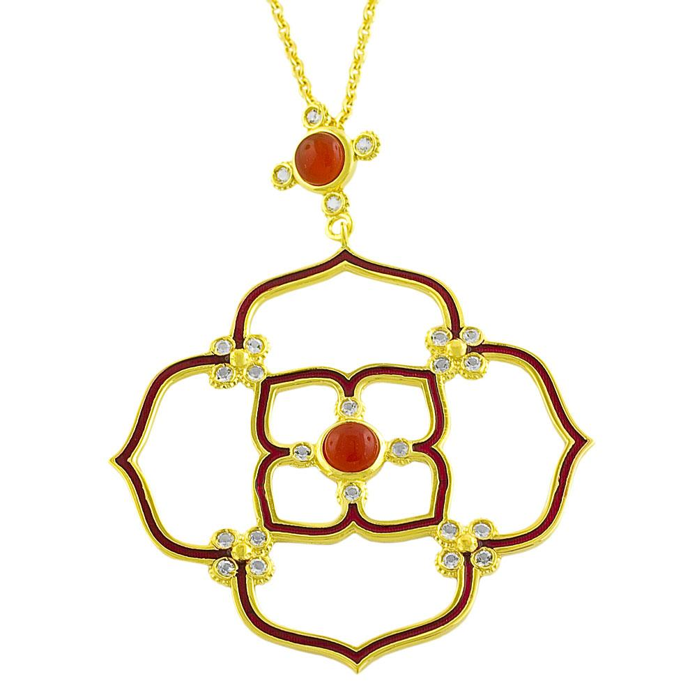 GoldKist 18k Gold over Silver and Red Enamel Carnelian Flower Necklace