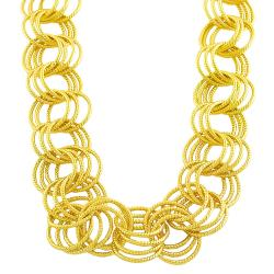 Goldkist 18k Gold over Silver 20-inch Fancy Rolo Necklace