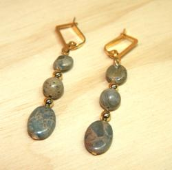 Goldplated Sea of Tranquility African Blue Opal Earrings - Thumbnail 1