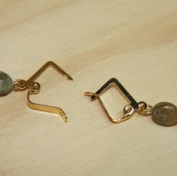 Goldplated Sea of Tranquility African Blue Opal Earrings - Thumbnail 2