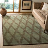 Handmade Thomas O'Brien Martine Ocean/ Green Wool Rug - 6' x 9'
