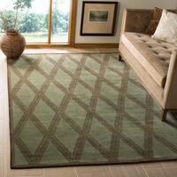 Handmade Thomas O'Brien Martine Ocean/ Green Wool Rug - 6' x 9'