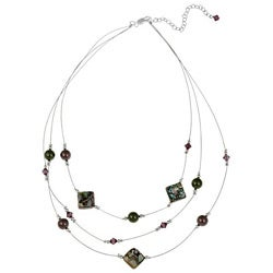 Glitzy Rocks Sterling Silver Abalone 3-row Necklace