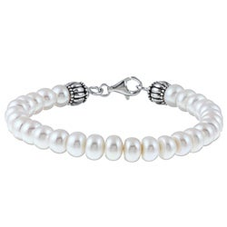 Pearls For You Sterling Silver White FW Button Pearl Bracelet (8-8.5 mm)