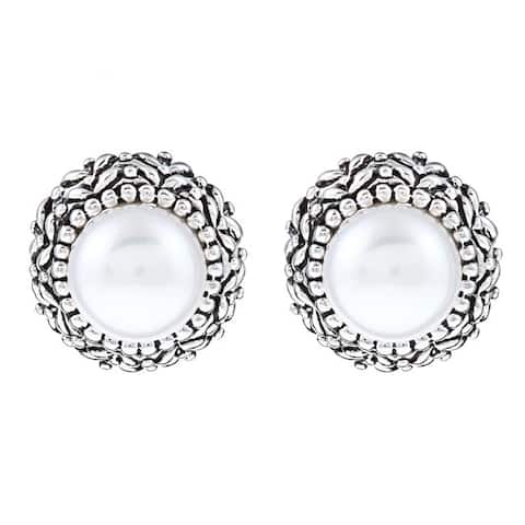 "Pearls For You Sterling Silver White Freshwater Pearl Earrings (8.5-9 mm) - 7'10"" x 11'"