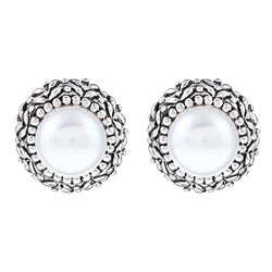 Pearls For You Sterling Silver White Freshwater Pearl Earrings (8.5-9 mm)