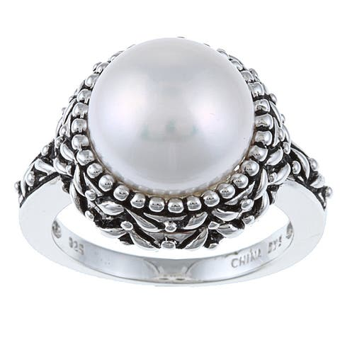 Pearls For You Sterling Silver White Freshwater Pearl Ring (11.5-12 mm) Size 7