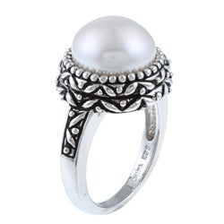 Pearls For You Sterling Silver White Freshwater Pearl Ring (11.5-12 mm) Size 7 - Thumbnail 1