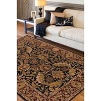 """Hand-tufted Grandeur Black Wool Area Rug - 3'3"""" x 5'3"""""""