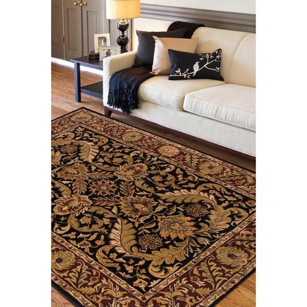 Hand-Tufted Grandeur Black Indoor Wool Area Rug (5' x 8')