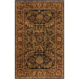 Hand-Tufted Grandeur Black Indoor Wool Rug (5' x 8')