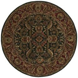 Hand-Tufted Traditional Grandeur Black Wool Rug (8' Round)